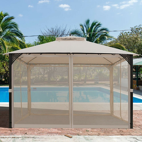 12' x 10'Outdoor Double Top Patio Gazebo-Beige