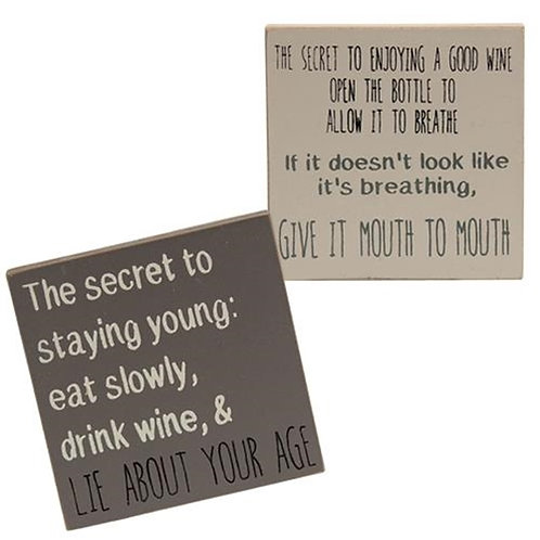 Pack of 4 Farmhouse Colors Drink Wine Square Block 3 Asstd.