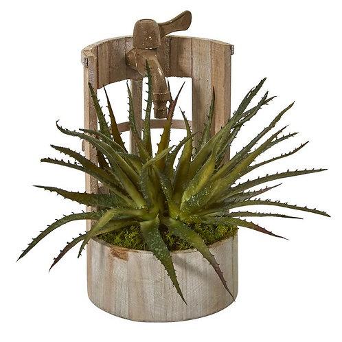 "12""  Aloe Artificial Plant in Faucet Planter"