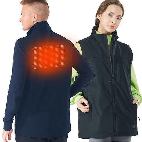 Men' & Women' Electric USB Heated  Sleeveless Vest-Black-L