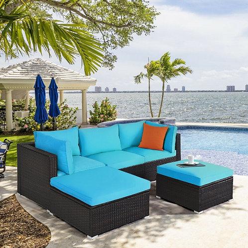 5PCS Patio Rattan Sectional Conversation Ottoman Furniture Set-Blue
