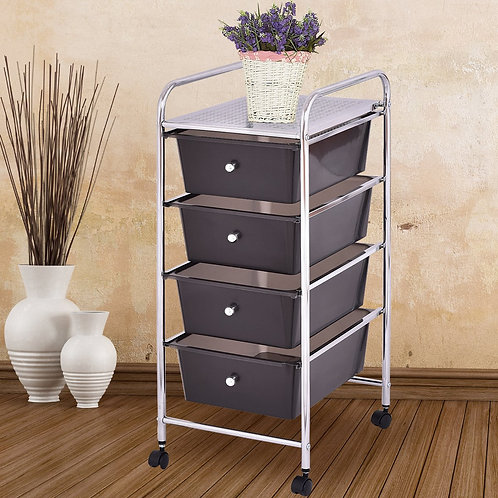 4 Drawers Metal Rolling Storage Cart