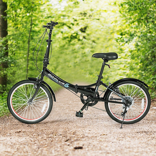 "20"" Lightweight Adult Folding Bicycle Bike with 7-Speed Drivetrain Dual V-Brakes"