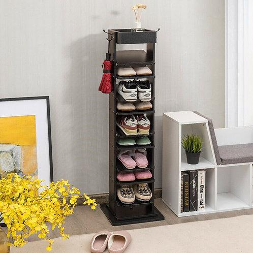 Rotated Shoe Rack 9 Tier Wooden Shoe Organizer -Black