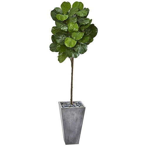"""75""""  Fiddle Leaf Artificial Tree in Cement Planter"""