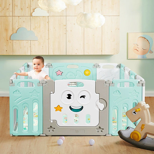 14-Panel Foldable Baby Playpen Kids Activity Centre-Green