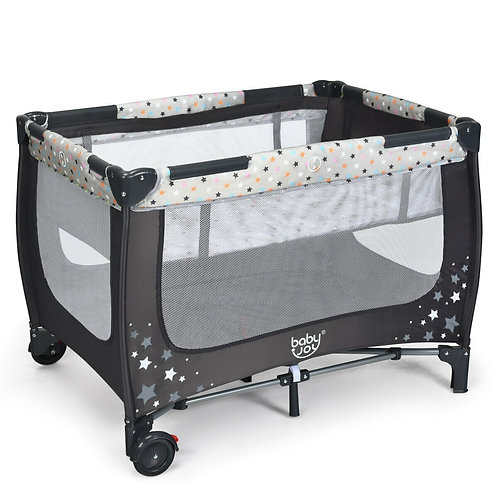 Portable Baby Playpen with Mattress Foldable Design-Gray