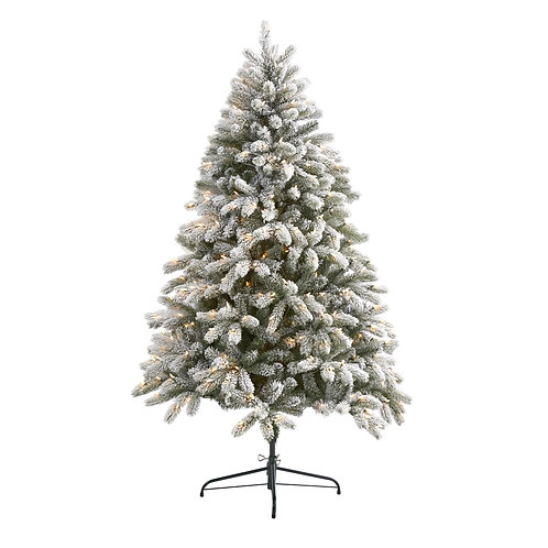 6' Flocked South Carolina Spruce Artificial Christmas Tree w 450 Clear Lights
