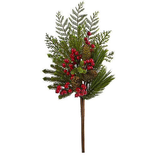 """26"""" Mixed Pine, Pinecone and Berry Artificial Plant (Set of 3)"""