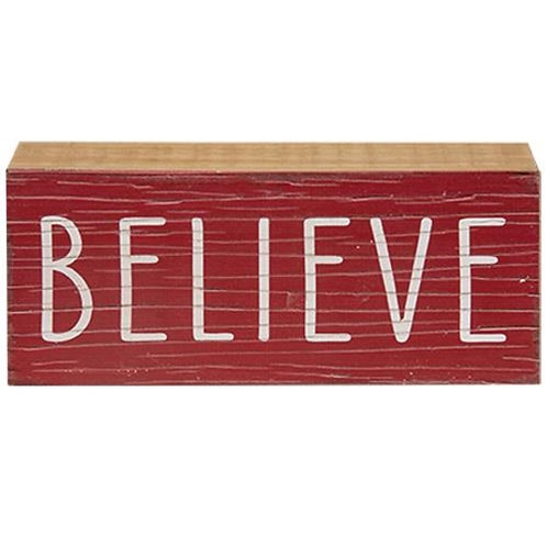 Pack of 2 Believe Wooden Sign