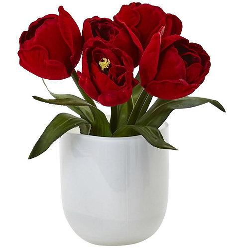 Tulips w/White Glass Vase