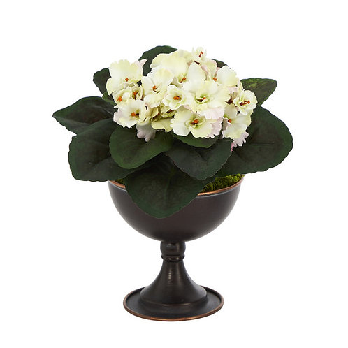 """11"""" African Violet Artificial Plant in Metal Chalice"""