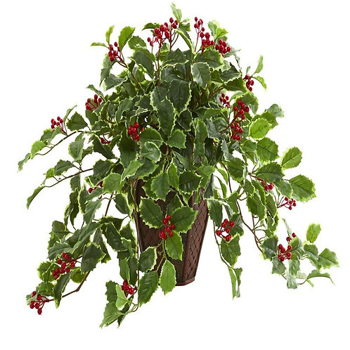 18' Variegated Holly Artificial Plant in Decorative Planter (Real Touch)