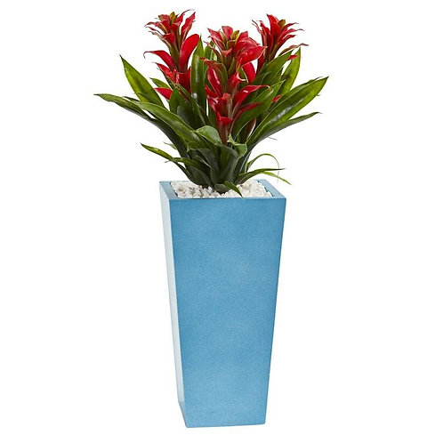"26""  Triple Bromeliad Artificial Plant in Turquoise Tower Vase"