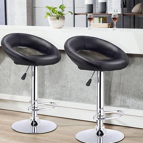 Set of 2 Bar Stools Adjustable PU Leather Swivel Chairs-Black