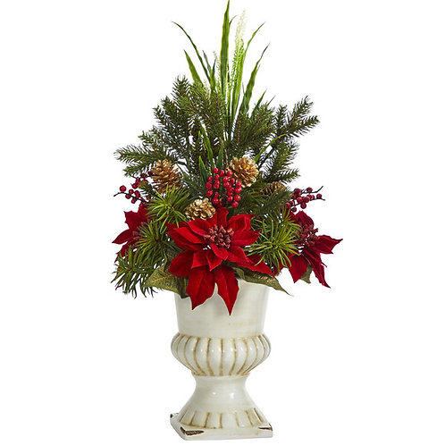 "28"" Poinsettia, Grass and Succulent Artificial Arrangement in White Urn"