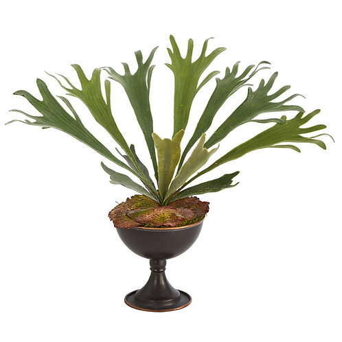 "18"" Staghorn Artificial Plant in Metal Chalice"