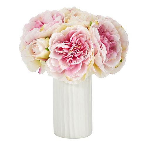 "11"" Peony Bouquet Artificial Arrangement in White Vase"
