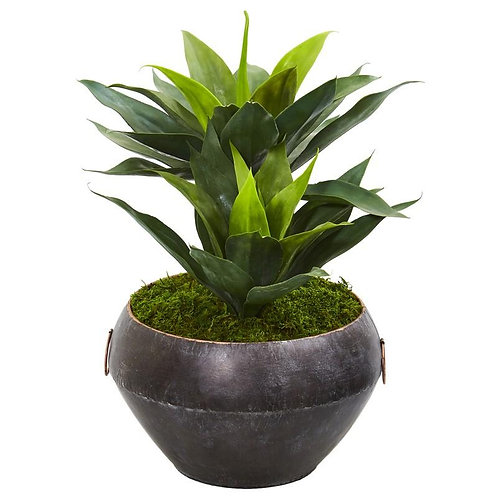 """21""""  Agave Artificial Plant in Metal Bowl"""