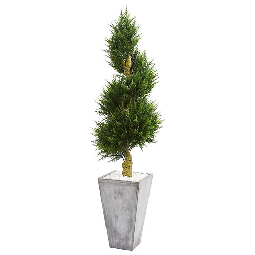 6' Cypress Spiral Artificial Tree in Cement Planter UV Resistant