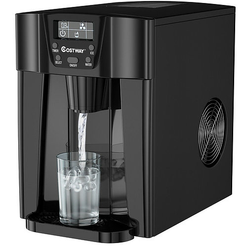 2-In-1 Ice Maker Water Dispenser 36lbs/24H LCD Display-Black