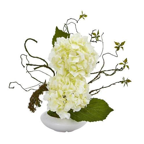 """13""""  Hydrangea Artificial Arrangement in White Vase"""