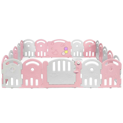 20-Panel Playpen with Music Box & Basketball Hoop-Pink