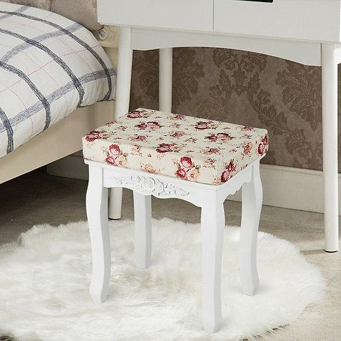White Cushioned Vanity Stool Piano Seat