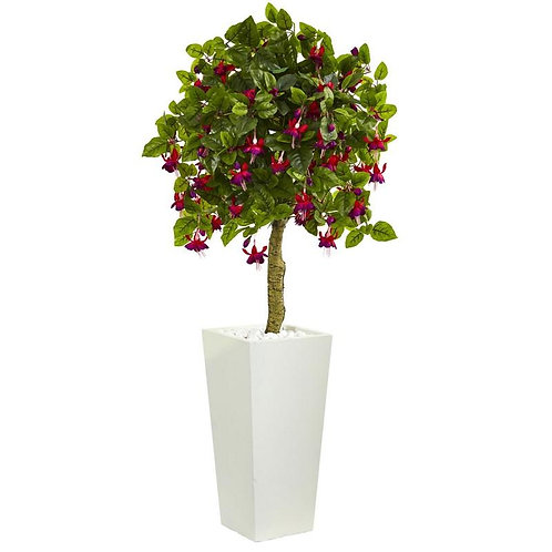 4' Fuschia Artificial Tree in White Tower Planter