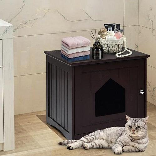 Sidetable Nightstand Weatherproof Multi-function Cat House-Brown