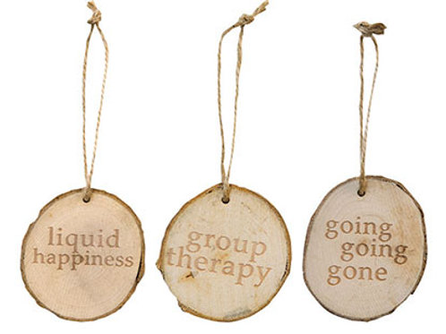 Pack of 4 Wooden Wine Tag 3 Asstd.