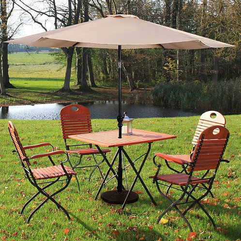 10FT Patio Umbrella 6 Ribs Market Steel Tilt W/ Crank Outdoor Garden-beige