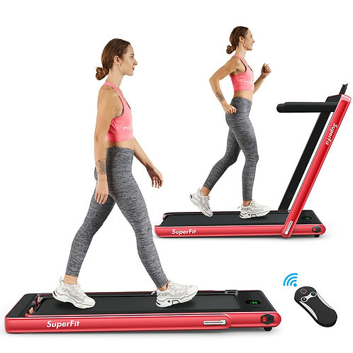 2 in 1 Folding Treadmill with Bluetooth Speaker Remote Control-Red