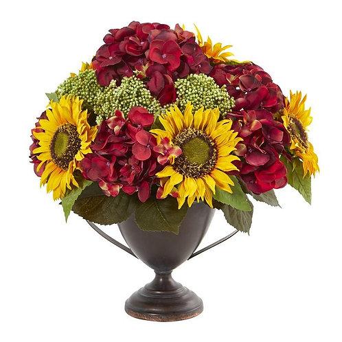 Sunflower and Hydrangea Artificial Arrangement
