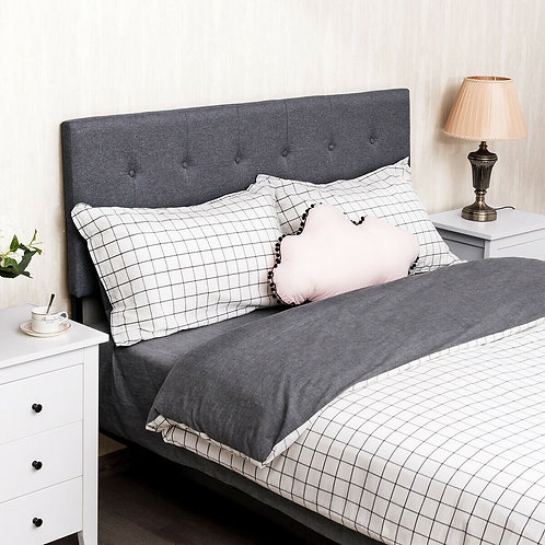 Height Adjustable Tufted Linen Fabric Upholstered Queen/Full Size Headboard-Gray