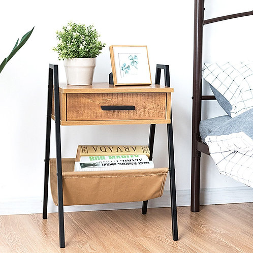 Accent End Side Sofa Table with Magazine Holder