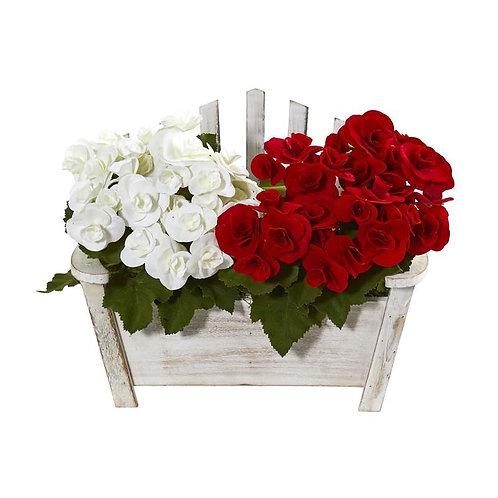 Begonia Artificial Arrangement in Chair Planter