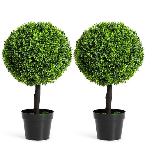 "2 PCS 24"" Artificial Boxwood Topiary Ball Tree"