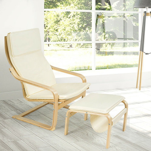 Relax Bentwood Lounge Chair  Set with Magazine Rack-White