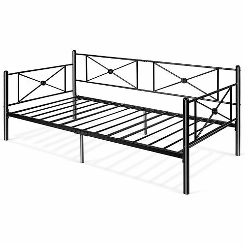 Metal Daybed Twin Bed Frame Stable Steel Slats Sofa Bed
