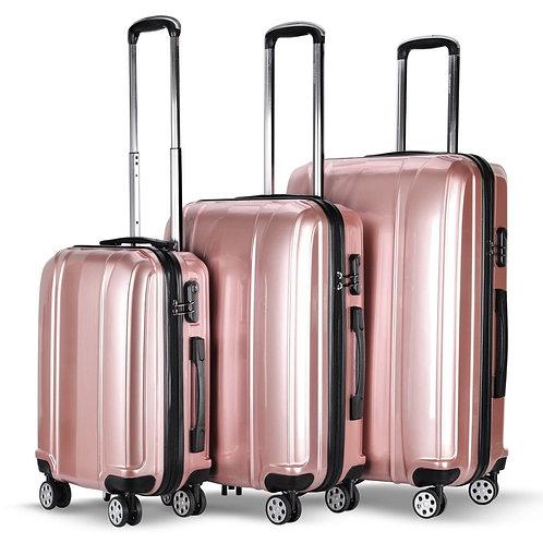 """3 Pcs 20"""" 24"""" 28"""" GLOBALWAY ABS+PC Luggage Travel Set-Pink"""