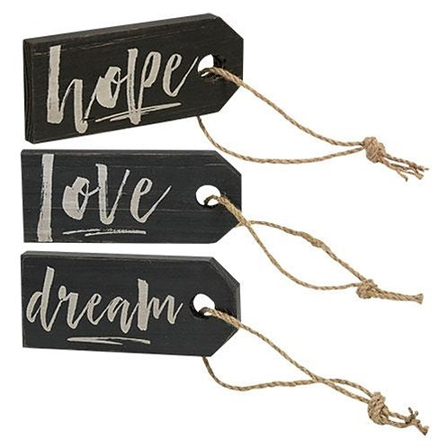 Pack of 4 *Love Dream Hope Wood Tag 3 Asst.