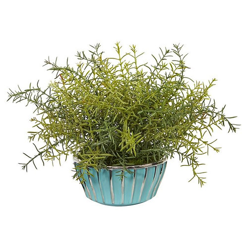 "11""  Rosemary Artificial Plant in Turquoise Bowl with Silver Trimming"