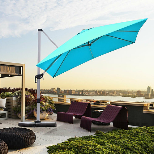 10 Ft 360 Degree Tilt Aluminum Square Patio Offset Cantilever Umbrella-Blue