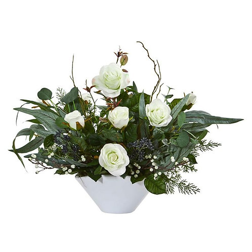 "16""  Rose and Eucalyptus Artificial Arrangement in Vase"