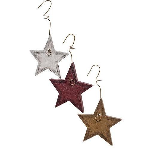 Wood Star Ornament 3 Asstd.