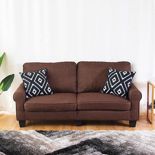 Home Living Room Upholstered Curved Armrest Fabric Sofa-Brown