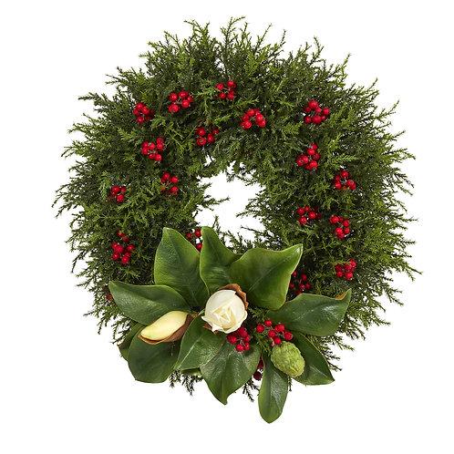 "20"" Cedar, Berries and Magnolia Artificial Christmas Wreath"