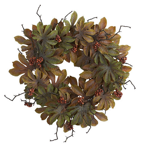 """24"""" Fatsia with Berries Autumn Artificial Wreath"""