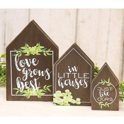 3/Set Love Grows Best In Little Houses Blocks